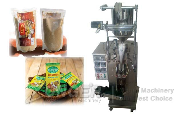 Ginger Garlic Paste Pouch Packaging Machine|Sauce Pouch Filling Machine