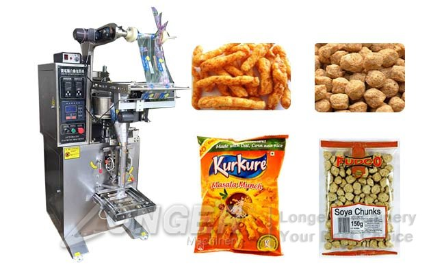 Vertical Namkeen Kurkure Packaging Machine|Soya Chunks Filling Sealing Machine