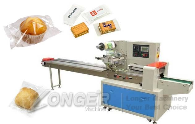 Automatic Pillow Type Candy Packing Machine|Bread Cookie Biscuit Flow Wrapping Equipment
