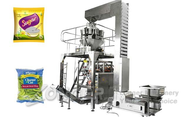 Automatic Sugar Granule Pouch Packing Plant With Multihead Weigher