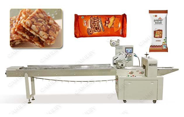 Peanut Chikki Packing Machine|Peanut Brittle Bar Flow Pack Machine