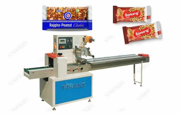 Peanut Chikki Flow Packaging Machine|Nut Brittle Bar Wrapper Machine